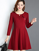 cheap -Women's Going out Simple A Line Dress,Solid U Neck Above Knee Long Sleeve Cotton Spring Fall Mid Rise Micro-elastic Opaque