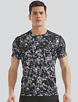 cheap -Men's Running T-Shirt Short Sleeves Fast Dry Breathability T-shirt for Exercise & Fitness Outdoor Exercise Running Polyester Camouflage S