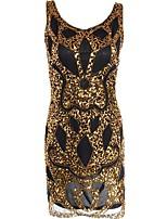 preiswerte -20er Gatsby Kostüm Damen Flapper Kleid Golden Vintage Cosplay Polyester Kurzarm Kappe