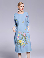 cheap -Women's Chinoiserie Loose Dress - Floral, Flower Strapless Deep U