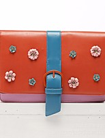 cheap -Women Bags PU Clutch Buttons Flower(s) for Casual All Season Orange