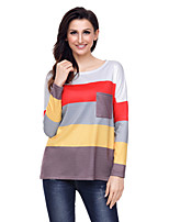 cheap -Women's Daily Holiday Casual Winter T-shirt,Color Block Round Neck Long Sleeve Polyester Spandex Opaque