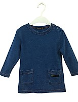 cheap -Girls' Solid Blouse,Cotton Spring Fall Long Sleeve Simple Royal Blue Blue