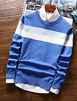cheap -Men's Daily Casual Short Pullover,Striped Shirt Collar Long Sleeves Polyester Winter Fall Opaque Micro-elastic
