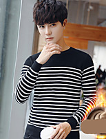 cheap -Men's Daily Casual Regular Pullover,Striped Round Neck Long Sleeves Polyester All Season Thick Stretchy