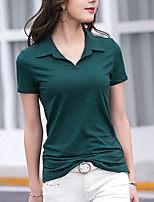 cheap -Women's Going out Cute T-shirt,Solid V Neck Short Sleeve Cotton