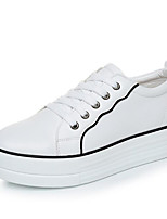 cheap -Women's Shoes Cowhide Spring Fall Comfort Sneakers Wedge Heel for Casual White/Green Black/White Pink/White Black