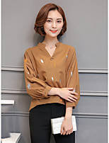 cheap -Women's Casual/Daily Street chic Shirt,Print V Neck Long Sleeves Cotton