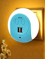 economico -brelong ha condotto la luce di notte doppia porta usb caricatore della parete sensore di luce 2a 110-240 v us