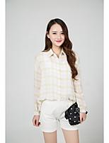 cheap -Women's Casual/Daily Street chic Shirt,Plaid Shirt Collar Long Sleeves Cotton Polyester