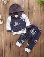 preiswerte -Jungen Kleidungs Set Alltag Sport Gestreift Blumen Baumwolle Polyester Frühling Herbst Langärmelige Freizeit Aktiv Chinoiserie Königsblau