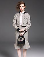 abordables -Set Jupe Costumes Femme,Imprimé Quotidien Décontracté Automne Manches longues Mao Brodée Polyester Micro-élastique