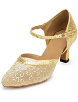 cheap -Women's Modern Tulle Sandal Cuban Heel Gold Silver Black/Silver Customizable