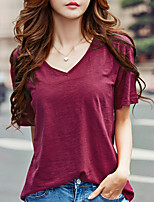 cheap -Women's Daily Casual Summer T-shirt,Solid Round Neck Short Sleeve Cotton