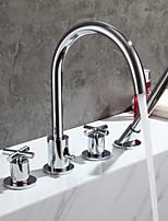 Недорогие -Современный Ванна и душ Медный клапан Две ручки Четыре отверстия Хром , Смеситель для ванны