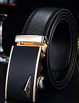 cheap -Men's Genuine Leather Waist Belt, Brown Black Casual