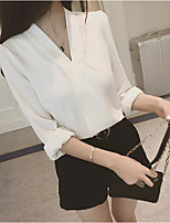 cheap -Women's Casual/Daily Cute Shirt,Solid V Neck Long Sleeves Cotton