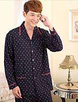 abordables -Costumes Pyjamas Homme,Points Polka Epais Coton Blanc Noir Beige