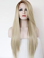 Недорогие -Женский Синтетические кружевные передние парики 20-40 дюйм Прямой силуэт Волосы с окрашиванием омбре С пушком Парик из натуральных волос
