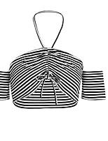 abordables -Mujer Vintage Discoteca Invierno Camiseta,Escote Barco Bloques Sin Mangas Algodón Medio