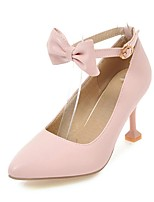 cheap -Women's Shoes Leatherette Spring Fall Comfort Heels Stiletto Heel Pointed Toe Bowknot Buckle for Party & Evening Dress Pink Beige White