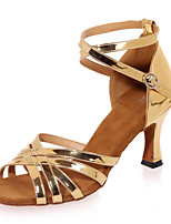 "cheap -Latin Leatherette Sandal Performance Flared Heel Gold Silver 2"" - 2 3/4"" Customizable"