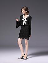 cheap -FRMZ Women's Daily Work Cute Active Spring Fall Blouse,Color Block V Neck Long Sleeve Polyester