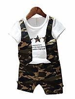 Недорогие -Мальчики Набор одежды Хлопок Полиэстер камуфляж Весна Осень С короткими рукавами Военно-зеленный