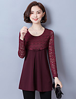cheap -Women's Daily Vintage Blouse,Solid Round Neck Long Sleeve Polyester