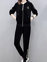 economico -Set Pantalone Completi abbigliamento Da donna Per uscire Semplice Inverno,Tinta unita Con cappuccio Poliestere Manica lunga