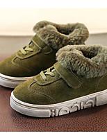 Недорогие -Мальчики обувь Мех Зима Осень Удобная обувь Кеды для Повседневные Черный Коричневый Военно-зеленный