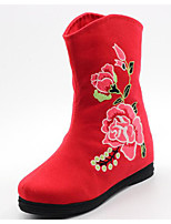 cheap -Women's Shoes Fabric Spring Fall Comfort Fashion Boots Boots Flat Heel Mid-Calf Boots for Casual Green Red Black
