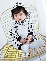 Недорогие -Девочки Пижамы Хлопок Леопард Длинный рукав Мультяшная тематика Белый