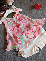 Недорогие -Девочки Набор одежды Хлопок Цветочный принт Лето Без рукавов Цвет радуги