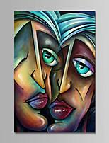 Недорогие -Ручная роспись Люди Вертикальная, Современный Простой Modern холст Hang-роспись маслом Украшение дома 1 панель