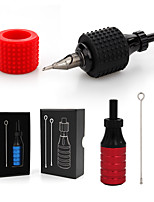 cheap -Tattoo Grip Kit Grip 1 Silicone Handle Sleeve 1 Neddle 1 Aluminum Carving Cartridge Adjustable 4mm Tattoo Grip
