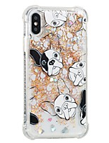 baratos -Capinha Para Apple iPhone X iPhone 8 Antichoque Liquido Flutuante Estampada Capa Traseira Cachorro Macia TPU para iPhone X iPhone 8 Plus