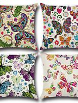cheap -4 pcs Cotton/Linen Pillow Cover,Floral Animal Print Bohemian Style