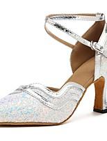 cheap -Modern Paillette Faux Leather Sandal Heel Bows Customized Heel Silver Customizable