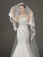 cheap -One-tier Lace Applique Edge Wedding Veil Chapel Veils 53 Lace Tulle