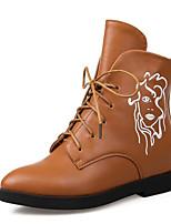 Недорогие -Жен. Обувь Полиуретан Зима Осень Удобная обувь Армейские ботинки Ботинки На толстом каблуке Ботинки для Повседневные Черный Красный