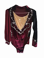cheap -Figure Skating Top Boys' Ice Skating Top Burgundy Spandex Stretch Yarn Stretchy Beginner Professional Skating Wear Creative