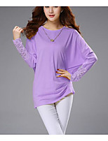 cheap -Women's Daily Vintage Casual Spring Fall T-shirt,Solid Round Neck Long Sleeve Polyester