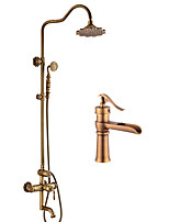 cheap -Antique Centerset Handshower Included Ceramic Valve Single Handle Two Holes Antique Copper , Bathroom Sink Faucet