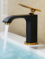 cheap -Art Deco/Retro Hardware Collection Standard Spout Centerset Widespread Ceramic Valve Single Handle One Hole Bathroom Sink Faucet