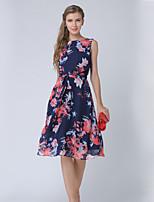 preiswerte -Damen Arbeit Ausgehen Freizeit Street Schick A-Linie Midi Kleid, Druck Blumen Rundhalsausschnitt Ärmellos