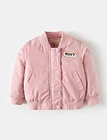 Недорогие -Девочки На пуховой / хлопковой подкладке Повседневные Полиэстер Однотонный Длинные рукава На каждый день Синий Розовый