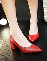 cheap -Women's Shoes Paillette Spring Fall Basic Pump Heels Chunky Heel Pointed Toe Sequin for Casual Red Silver Black Gold