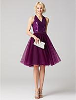 preiswerte -A-Linie V-Ausschnitt Knie-Länge Tüll Pailletten Cocktailparty Kleid mit Schärpe / Band Pailletten durch TS Couture®