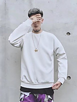 cheap -Men's Plus Size Going out Casual Sweatshirt Solid Print Round Neck Without Lining Micro-elastic Cotton Long Sleeve Spring Fall